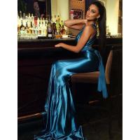 China ELEGANT LONG SPAGHETTI SATIN PARTY DRESS WHOLESALE on sale